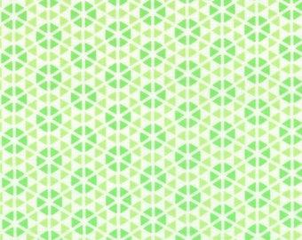 HUBBA HUBBA - Hexi Geometric in Green - Bold Fun Flirty Cotton Quilt Fabric - My Sister & Me Designs for Moda Fabrics - 22214-13 (W3956)