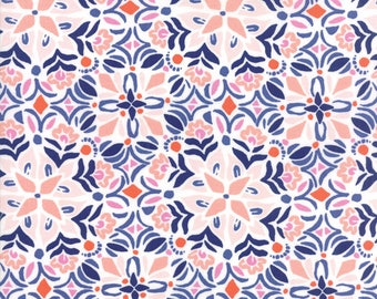 VOYAGE - Kerala in Mandarin Orange - Blue Pink Geometric Cotton Quilt Fabric - 27283-15 - Kate Spain for Moda Fabrics (W4498)