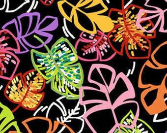 """34"""" REMNANT Sun-Kissed - Little Leaf in Black Multi - Cotton Quilt Fabric - designed by Michele D'Amore for Benartex Fabrics (W1505)"""
