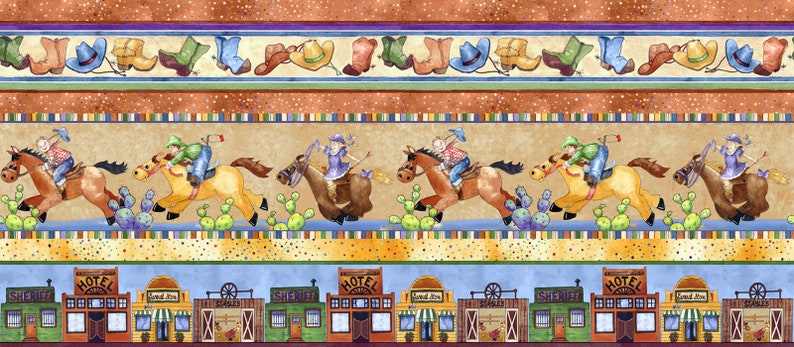 Horsin/' Around Fabric #27133-X Cowboys Cowgirls Border Stripe Quilt Shop Quality