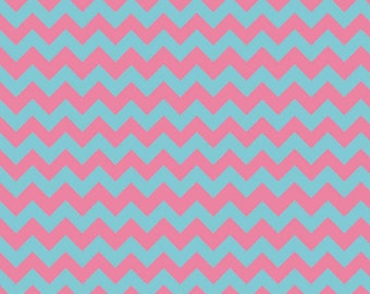 One Yard Small Chevron - Tone on Tone in Aqua and Pink - Cotton Quilt Fabric - C400-08 - Riley Blake Designs (W2490)