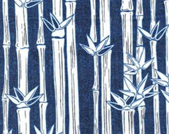 WATER LILY - Bamboo Stripe in Denim Blue / White - Cotton Quilt Fabric - Kanvas Studios at Benartex Fabrics - 5986-50 (W3732)
