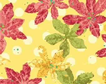 SALE!! Nancy's Holiday Favorites - Poinsettias in Golden Yellow Cotton Quilt Fabric - Nancy Halvorsen  - Benartex Fabrics - 2369-30 (W359)