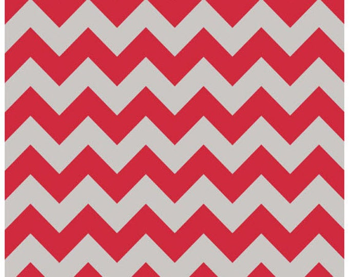Medium Chevron - Red / Gray - Cotton Quilt Chevrons Grey Fabric - C380-04 - Riley Blake Designs Fabrics (W4292)