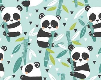 PANDA-RAMA - Bamboo in Blue - Adorable Panda Bear Cotton Quilt Fabric - by Maude Asbury for Blend Fabrics - 101.129.01.1 (W4281)