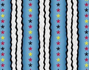 PEANUTS - Snoopy the Flying Ace - Star Stripe in Blue - Stars Stripes Cotton Quilt Fabric - Quilting Treasures - 24015-B (W3132)