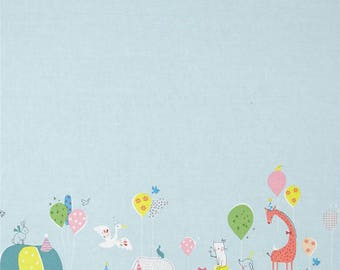 HIP HOORAY - 2/3 Yard PANEL - Party Parade in Blue - Animals Cotton Quilt Fabric - by Lizzie Mackay for Blend Fabrics - 121.101.01.1 (W3793)