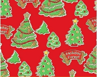 Storybook Christmas - Trees in Red / Green - Holiday Tree Cotton Quilt Fabric - Whistler Studios - Windham Fabrics - 41751-3 (W4256)