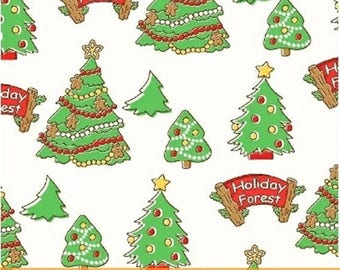 Storybook Christmas - Trees in White / Green - Holiday Tree Cotton Quilt Fabric - Whistler Studios - Windham Fabrics - 41751-1 (W4255)
