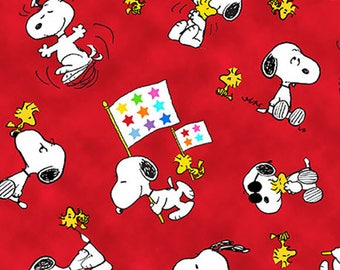 PROJECT LINUS - Woodstock Snoopy Toss in Red - Peanuts Charlie Brown Cotton Quilt Fabric - Quilting Treasures Fabrics - 22324-R (W4010)