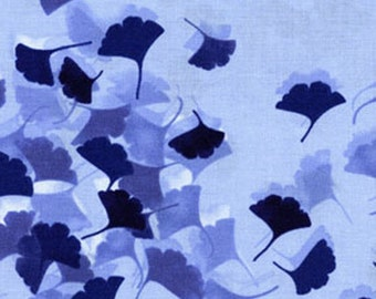 HARMONY - Gingko Leaves in Chambray Blue - Floral Leaf Cotton Quilt Fabric - by Kanvas for Benartex Fabrics - 5517-50 (W1558)