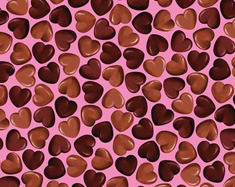 OH FUDGE! - Chocolate Hearts in Pink - Cotton Heart Quilt Fabric - by Maria Kalinowski for Benartex Fabrics - 8355-22 (W3883)