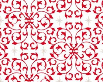 3/4 Yard REMNANT Celebrate the Season - Scroll in Red - Cotton Quilt Fabric with Metallic Accents - Studio 8 for Quilting Treasures (W1801)