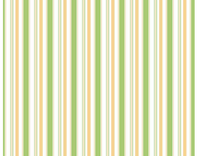 COZY CHRISTMAS - Stripes in Green -  Yellow Stripe Cotton Quilt Fabric - C5368-GREEN - by Lori Holt for Riley Blake Designs Fabrics (W4322)