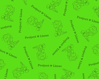 PROJECT LINUS - Blender in Lime Green - Peanuts Charlie Brown Cotton Quilt Fabric - Quilting Treasures Fabrics - 22326-H (W4013)