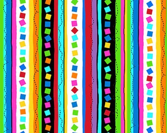 PROJECT LINUS - Confetti Stripe in Black - Peanuts Charlie Brown Cotton Quilt Fabric - Quilting Treasures Fabrics - 22327-J (W4018)