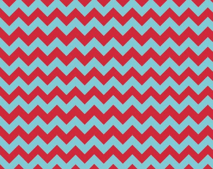 SMALL CHEVRON - Tone on Tone in Aqua Blue and Red - Cotton Quilt Fabric - C400-07 - Riley Blake Designs Fabrics (W2489)