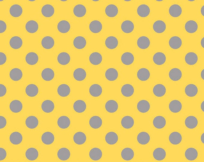 """21"""" REMNANT Medium Dots - Tone on Tone in Yellow and Gray - Cotton Quilt Fabric - C430-11 - RBD Designers for Riley Blake Designs (W2498)"""