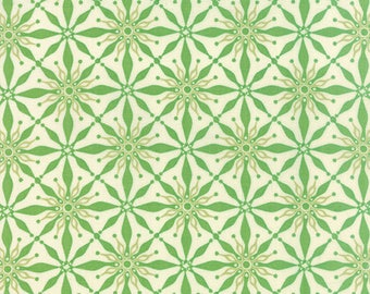 SOLSTICE - Polaris in Laurel Green - Geometric Stars Winter Cotton Quilt Fabric - by Kate Spain for Moda Fabrics - 27183-13 (W3936)