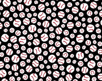 PEANUTS ALL STARS - Baseballs in Black - Charlie Brown Sports Cotton Quilt Fabric - Baseball - Quilting Treasures Fabrics - 24531-J (W4003)