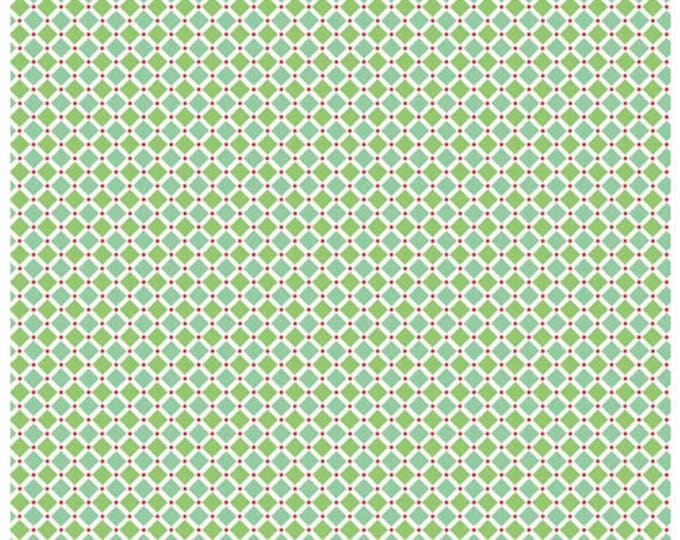 COZY CHRISTMAS - Squares in Green / Blue -  Plaid Cotton Quilt Fabric - C5366-GREEN - Lori Holt for Riley Blake Designs Fabrics (W4317)