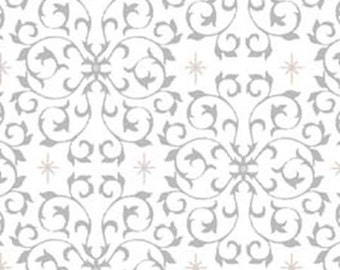 Half Yard Celebrate the Season - Scroll in Gray - Cotton Quilt Fabric with Metallic Accents - Studio 8 for Quilting Treasures (W1800)