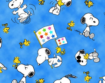 PROJECT LINUS - Woodstock Snoopy Toss in Blue - Peanuts Charlie Brown Cotton Quilt Fabric - Quilting Treasures Fabrics - 22324-B (W4008)