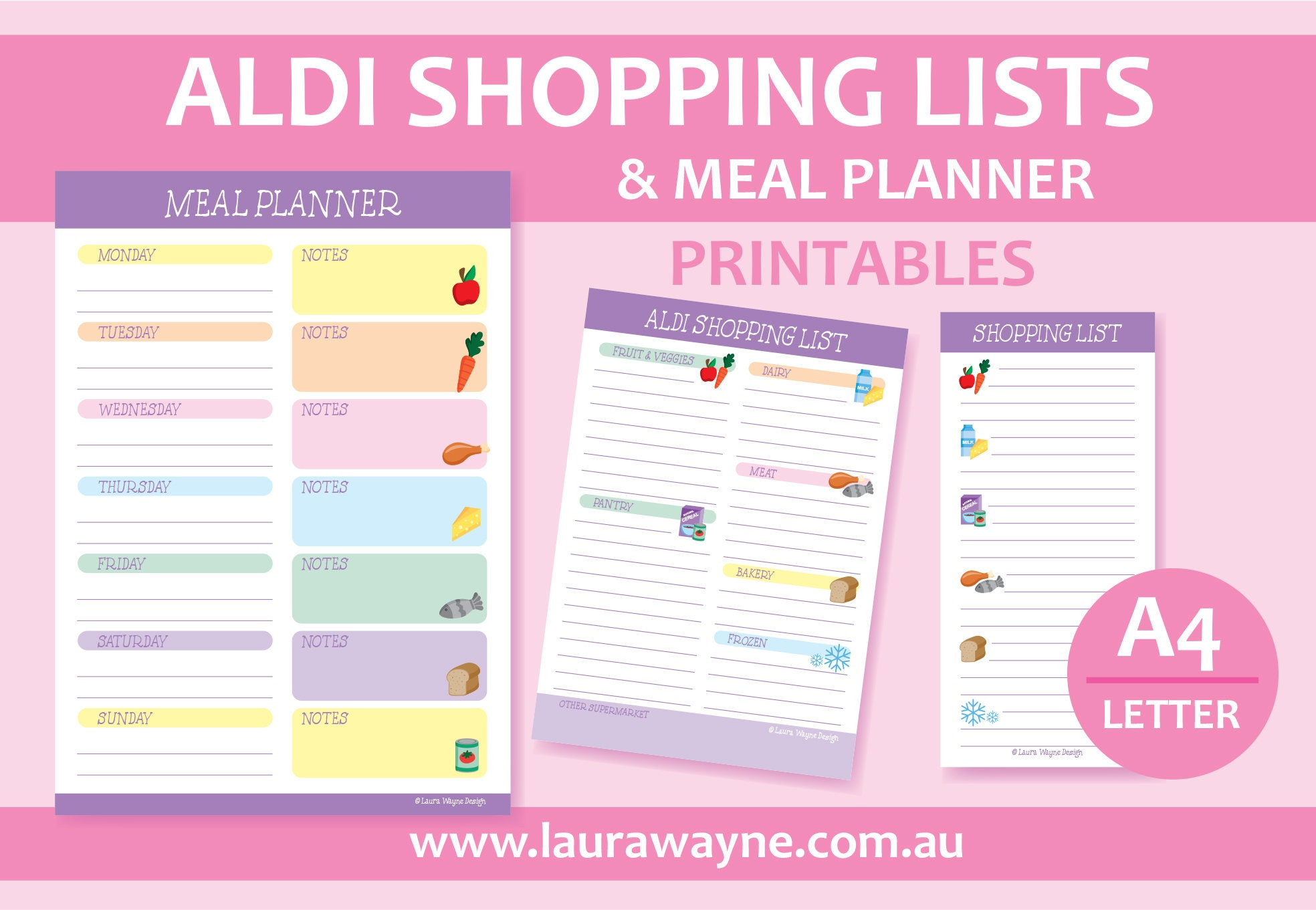 aldi shopping lists and meal planner printable set laura