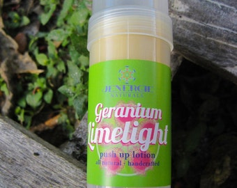 Lotion ///  Push Up ///  Geranium Limelight ///  2 oz., Organic Skincare, Moisturizing, Organic Ingredients