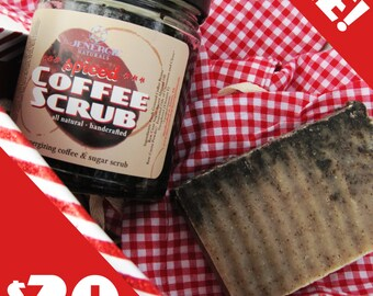 Gift Set /// Sugar Scrub & Soap /// Spiced Coffee /// great gift for sister, best-friend, mom, dad, brother, co-worker, boyfriend, husband