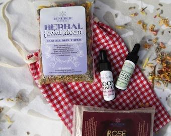 Gift set /// Mini Spa Facial /// Moonflower Replenishing Serum,  Eye Remedy,  Herbal Steam, Cleansing Grains