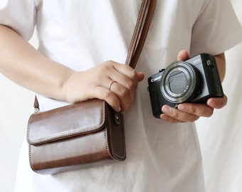 Compact Camera case bag pouch + neckstrap for Canon Sony Ricoh Nikon G7x G5x G9x GR2 GR3 RX100 D-LUX6 D-LUX5 XF10