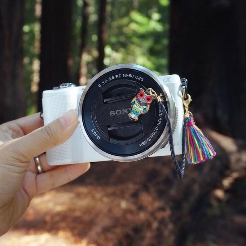 Emerald Owl Camera Lens cap holder Keeper case bag strap image 1