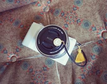 Golden Time White Camera Lens cap holder Keeper case bag strap handmade gift by cocowerk