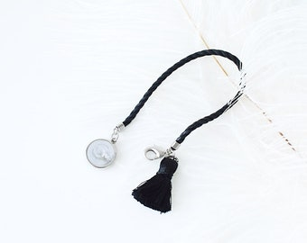 White marble pattern  Camera Lens cap holder Keeper case bag strap handmade gift by cocowerk