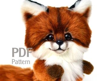 Pattern teddy fox Faris 6.5 in, PDF Pattern artist teddy fox, cuddly toy sewing pattern, do it yourself, make teddy fox