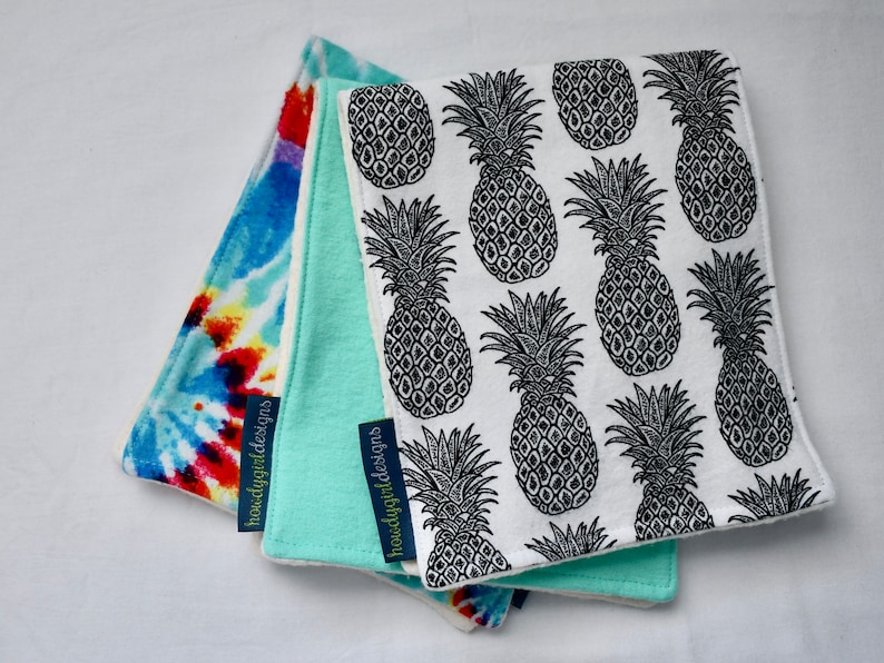 Burp Cloth 3-Pack and Teether Combo with Organic Cotton: Happy Hippie Teal Black and White Pineapples Tie Die Neutral