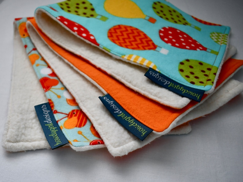 Orange Neutral Balloons Bees Burp Cloth 3-Pack and Teether Combo with Organic Cotton: Up and Away
