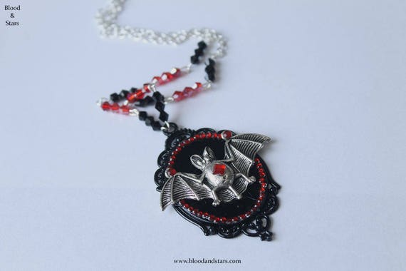 Gothic vampire bat cameo necklace