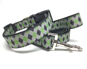 "Green and Black Checker Dog Leash & Collar Set - 1"" - Personalized Dog Collar - Engraved Dog Buckle Optional"