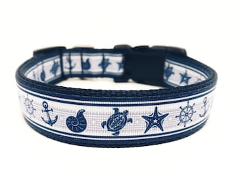 Nautical Dog Collar - Beach Dog Collar - Ocean Dog Collar Adjustable