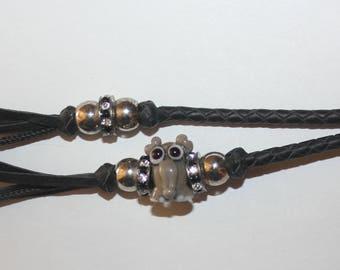Black kangaroo leather Key fob with one Artisan made elephant bead