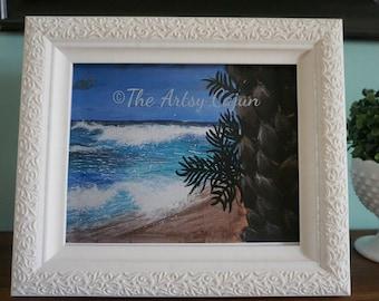 "Fine Art Print of Hawaiian Seascape 3 Acrylic Painting,  8.5x11"""