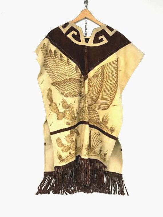 Vintage Mexican Embossed Suede Poncho, Southwester