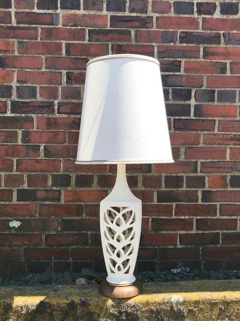 Vintage Mid Century Lamp Mid Century White Ceramic Lamp Lamp Shade Vintage, Mid Century Modern Lamp Lamps Vintage