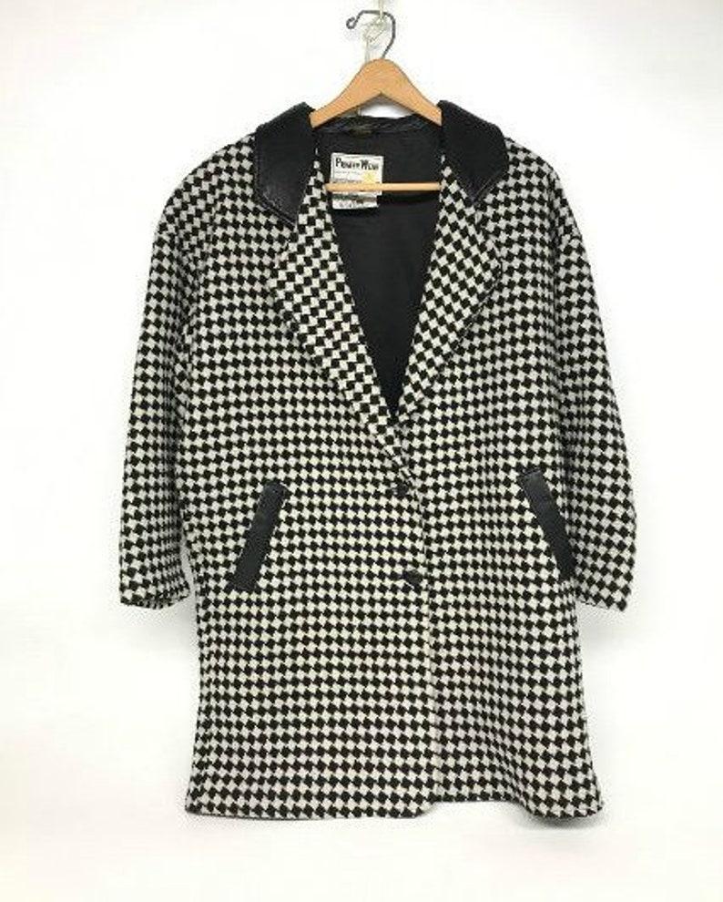 Wool Peacoat Black and White Jacket Vintage Duster Pioneer Wear Coat Womens Wool Jacket Vintage Houndstooth Jacket 1960s Pioneer Wear
