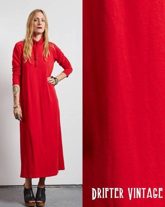 Vintage 80s red BOHO hippie CAFTAN maxi DRESS