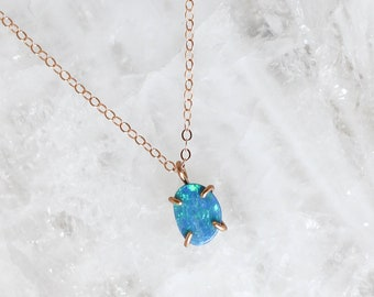 Opal Pendant Necklace in Rose Gold