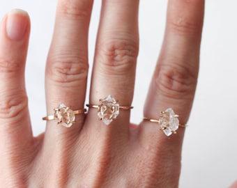 Herkimer Diamond Quartz Ring in Rose Gold