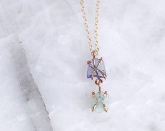 Raw Aquamarine + Tanzanite Necklace